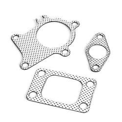 Senyar Gasket Fitting, 38mm/1.5in Gasket 5Bolt Downpipe Combo Kit Fitting Steel Gasket for T3/T4 Turbocharger Automotive Replacement Parts Engine Parts