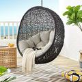 Modway EEI-3636-BLK-BEI Encase Swing Outdoor Patio Lounge Chair Without Stand, Black Beige