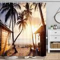 DYNH Beach Scene Shower Curtain, Romantic Wooden Old Shacks and Huts Beach Summer Tropical Shower Curtain, Tropical Shower Curtain Sets, Hooks Included, 70 in