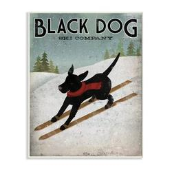 Stupell Industries Black Dog Ski Company Winter Sports Pet Sign by Ryan Fowler - Graphic Art Print on WoodWood in Blue/Brown, Size 15.0 H x 0.5 D in
