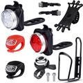 EAONE USB Rechargeable Bike Light Set, Silicone LED Bicycle Light Front and Back with Bike Water Bottle Holder Silicone Bike Phone Mount and Bike Bell (USB Cables and Straps Included)