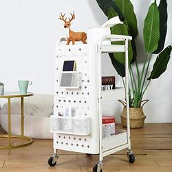 3 Tier Storage Rolling Cart, Dailyart Heavy Duty Rolling Utility Cart Metal Push Cart with Pegboard and Extra Baskets Hooks, Trolley Organizer Cart with Utility Handle for Kitchen Office Home, White