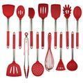 Set de cuisine 13 pièces en acier inoxydable poignée Outils de cuisine Set de cuisine en silicone avec Ustensile Set grande cuillère Spatule de cuisine,Rouge