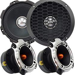 "Gravity Pro Warzone Series 6.5"" Inches 1000 Watts Peak Power Mid-Range Speaker for Car (2 Speakers) with Heavy Duty Titanium 1200 Watts Super Tweeter (2 Tweeters)"