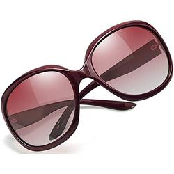 Joopin Oversized Polarized Sunglasses for Women, Ladies Fashion Thick Big Frame Sun Glasses Shades for Women (Gradient Wine Red)