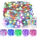 JMEXSUSS 100 LED Color Changing Fairy Lights with Remote, 33ft Super Bright Colored Fairy Lights USB Powered, 12 Modes RGB Copper Wire Lights for Bedroom,Party,Indoor,Outdoor