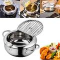 Deep Frying Pan,Temperature Control Fryer,Tempura Fryer Pot,Japanese Style Tempura deep Fryer with Thermometer,Lid and Oil Drip Rack,Nonstick Fryer Pot for Kitchen Cooking 20cm/304