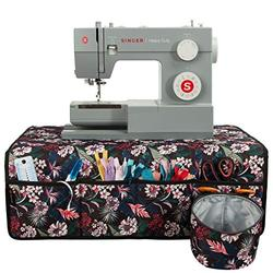 PACMAXI Sewing Machine Pad for Table with Pockets, Water-Resistant Sewing Machine Pad Organizer, Pad Organizer for Sewing Machine Accessories, Sewing Machine Mat (Floral with Black Background)
