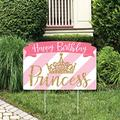 Big Dot of Happiness Little Princess Crown - Pink and Gold Princess Birthday Party Yard Sign Lawn Decorations - Happy Birthday Party Yardy Sign