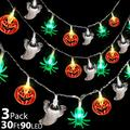3 Pack Halloween String Lights Colorful 90 LED 30Ft Pumpkin Spider Ghost 3 in 1 String Exclusive Scary Halloween Lights Battery Operate Indoor Outdoor Tree Halloween Party Decorations(Each 30LED 10FT)