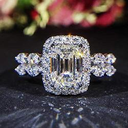 Sterling Silver CZ Ring Princess Cut Square Simulated 3 Carat Diamond Ring with 8 Shaped Carat Dazzling Diamond Rings on Both Sides Female Wedding Ring (9)