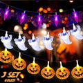 ShuYo Halloween String Lights, 3 Set Halloween Lights Battery Operated, Halloween Lights Outdoor Indoor Led Halloween Lights (Orange Pumpkin, Purple Bat, White Ghosts, 60 LED) Light String for Party