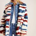 Anthropologie Jackets & Coats | Anthropologie Leona Faux Fur Coat Colorful Stripes | Color: Blue/Red | Size: Xs