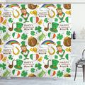 The Holiday Aisle® St. Patrick'S Day Irish Party Pattern Beer Leprechaun Flag Hearts Rainbow Gold & Shamrock Single Shower CurtainPolyester in Green