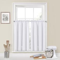 Charlton Home® Window Solutions Tier Pair Kitchen Cafe CurtainPolyester in White/Black, Size 45.0 H x 52.0 W x 1.5 D in   Wayfair