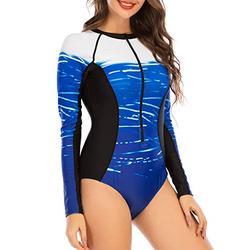Womens Swinsuits One Piece Swimsuits for Women Long Sleeve Rash Guard Surfing One Piece Swimsuit Bathing Suit Black Blue Stripe L