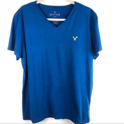 American Eagle Outfitters Shirts   American Eagle 100% Cotton Blue V-Neck Tee Shirt   Color: Blue/Yellow   Size: L