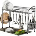 Premium Racks Professional Over the Sink Stainless Steel Dish Rack Stainless Steel in Gray, Size 25.0 H x 33.75 W x 10.5 D in | Wayfair YH-438