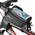 Jhua Bike Phone Mount Bag, Bike Front Frame Bag Waterproof Cycling Pannier Top Tube Frame Handlebar Bags Touch Screen Bike Pouch Phone Holder Phone Storage Bag for iPhone/Android Cellphones Up to 6in
