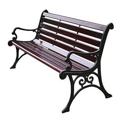 Terrace Garden Patio Bench Outdoor Slatted Seat, Cast Iron Frame Solid Wood Seat Park Bench, Porch Chair with Backrest and Armrests, Accommodating 2-3 People, for Lawn/Working Passage