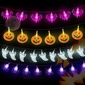 Halloween String Lights 60 LED Pumpkin Spider Bat Ghost String Lights 23 Feets Battery Operated Halloween Colorful Decorative Hanging Lights for Halloween Indoor Outdoor Home Decoration