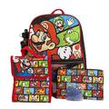 Super Mario Backpack with Lunch Box Set for Boys & Girls, 16 inch, 5 Piece Value Set