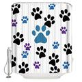 BestLives Cute Pets Fabric Shower Curtain for Bathroom, Colorful Dog Paws Waterproof Polyester Curtains with Hooks Extra Long 72x84inch