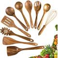 Lot de 10 ustensiles de cuisine en bois - Cuillères en bois pour la cuisine - Cuillères en bois de teck - Spatule pour ustensiles de cuisine antiadhésifs (10)