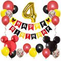 LINGTEER Micky Mouse Happy 4th Birthday Decorations Set - Happy Birthday Bunting Banner - Micky Theme Birthday Balloon Four Years Old Party Gift Decorations.