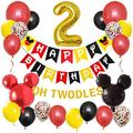 LINGTEER Micky Mouse Happy Birthday Decorations Set - Oh Twodles Gold Banner - 2nd Micky Theme Birthday Balloon Party Decorations.
