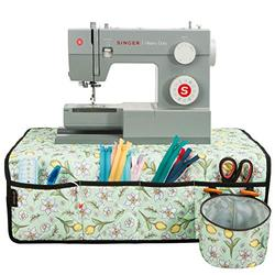 PACMAXI Sewing Machine Pad for Table with Pockets, Water-Resistant Sewing Machine Pad Organizer, Pad Organizer for Sewing Machine Accessories, Sewing Machine Mat (Floral with Green Background)
