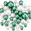 NOTCHIS Green and White Floating Pearls Beads for Vases, No Hole Highlight Pearl Bead Vase Fillers for Centerpieces, 30mm, 20mm, and 14mm, DIY Weddings, Baby Showers, Mother's Day Centerpieces