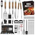 Cifaisi BBQ Grill Accessories Set, 38Pcs Stainless Steel Grill Tools Grilling Accessories with Aluminum Case, Thermometer, Grill Mats for Camping/Backyard Barbecue, Grill Utensils Set for Men Women