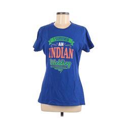 Port & Company Short Sleeve T-Shirt: Blue Solid Tops - Size Medium