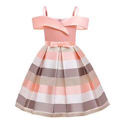 LiSh-EC Filles Robe 2020 été Nouveau vêtements pour Enfants Jupe à Bretelles Robe de Princesse Enfants Hors épaule Robe rayée Jupe-Rayure Rose_130#