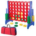 WinSpin kids Jumbo 4-To-Score Giant Game Plastic in Blue/Red/Yellow, Size 49.2 H x 42.7 W x 22.0 D in   Wayfair 35JFS001-4FT-0203