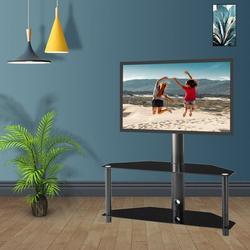 "oraeleSwivel Floor Stand Mount w/ Shelving, Holds up to 50 lbs in Black, Size 49""H X 35""W X 15""D | Wayfair LXY-20072938TS"