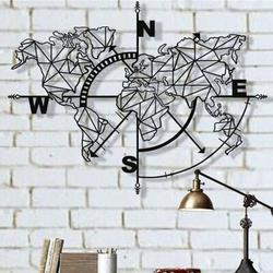 Longshore Tides Metal World Map Geometric Compass Wall Decor Metal in Gray/White, Size 36.0 H x 46.0 W x 1.0 D in   Wayfair