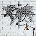 Longshore Tides Metal World Map Compass Flowers Wall DecorMetal in Black, Size 30.0 H x 40.0 W x 1.0 D in | Wayfair