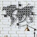 Longshore Tides Metal World Map Compass Flowers Wall DecorMetal in Black, Size 41.0 H x 55.0 W x 1.0 D in | Wayfair