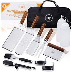 WESELYN Flat Top Griddle Accessories - 12-Pc Teak Handled Griddle Set - Burger Spatulas, Scraper, Egg Rings, Meat Fork, Storage Bag - Stainless Steel BBQ Tool Kit for Blackstone and Coleman Grills