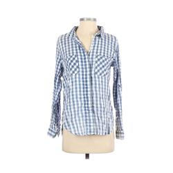 Cotton On Long Sleeve Button Down Shirt: Blue Checkered/Gingham Tops - Size X-Small