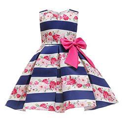 LiSh-EC Robes pour Filles 2020 Nouveaux Jupes pour Enfants imprimé Robe de Princesse Jupe-C Bleu Print_100-150