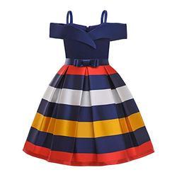 LiSh-EC Filles Robe 2020 été Nouveau vêtements pour Enfants Jupe à Bretelles Robe de Princesse Enfants Hors épaule Robe rayée Jupe-Bande Bleue_130#