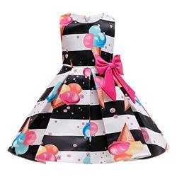 LiSh-EC Robes pour Filles 2020 Nouvelles Jupes pour Enfants Robe de Princesse imprimée Jupe-crème glacée Noire_150#