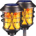 TomCare Solar Lights Metal Solar Torch Lights Flickering Flame Outdoor Lighting Decorative Landscape Pathway Garden Lights Waterproof Solar Powered Dusk to Dawn Auto On/Off for Patio Yard Pool, 2 Pack