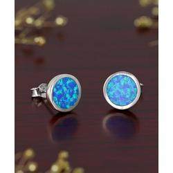 Kanishka Women's Earrings Silver - Blue Lab-Created Opal & Sterling Silver Round Stud Earrings