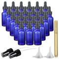 Dropper Bottles, RUCKAE Glass Dropper Bottle with Eye Dropper(1oz,24Pack), Dropper for Essential Oils, Colognes, Perfumes, with 2 Extra Fine Mist Sprayers, Funnel and Pen (Cobalt Blue)