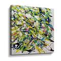 Ebern Designs White Flowers Black Roots - Painting Print on CanvasCanvas & Fabric in Brown/Green/Yellow, Size 18.0 H x 18.0 W x 2.0 D in | Wayfair