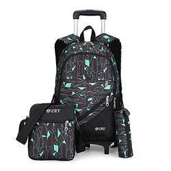 VBG VBIGER Kids Rolling Backpack Wheeled Backpack for Boys Girls 3pcs Rolling Luggage Backpack for School & Travel Six Wheels Trolley School Bags(Black-Blue)